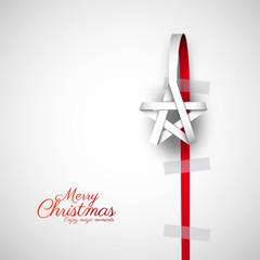 Creative paper Christmas star. Made from paper stripe, Vector Illustration. hanging on paper bow