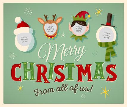 Family spirit Christmas card. Place your photos on christmas characters. Editable EPS10.