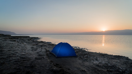 Dead Sea with tent