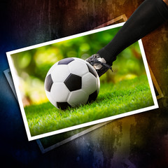 Kick the soccer ball in photo