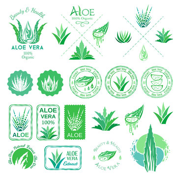 Aloe vera design elements. Logos, badges, icons and emblems. Stencil style.