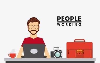 people working design
