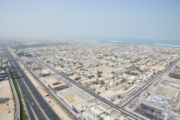 sheik zayed road photographed from the al hikma tower rooftop