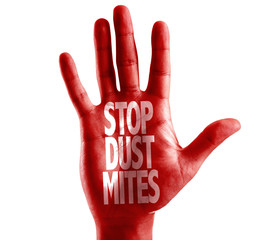 Stop Dust Mites written on hand isolated on white background