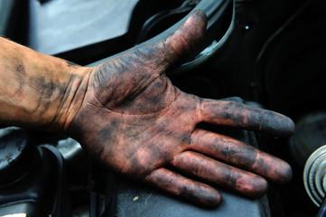 dirty, mechanic, hand, human, reparing, work