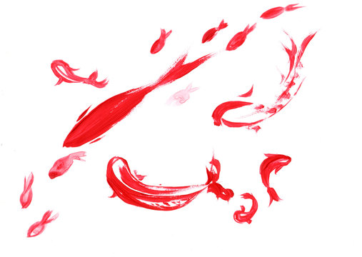Red fish in the style of sumi-e