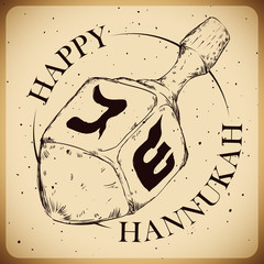 Hanukkah's Dreidel in Hand Drawn Retro Style, Vector Illustratio