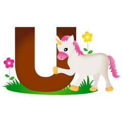 Animal alphabet letter U
