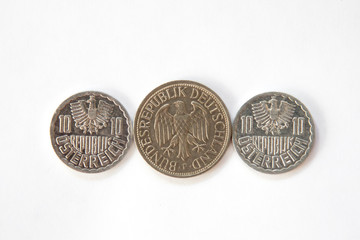 Eagles on obsolete Austrian and German coins