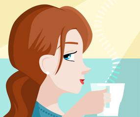 mujer bebiendo un café al amanecer