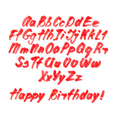 Handwritten Alphabet by Red Marker. Letters isolated on white