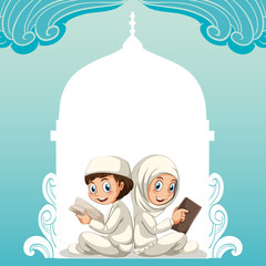 Muslim couple in white costume reading books