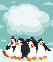 Group of penguin on the ice