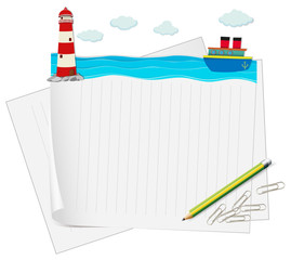 Paper design with ocean view