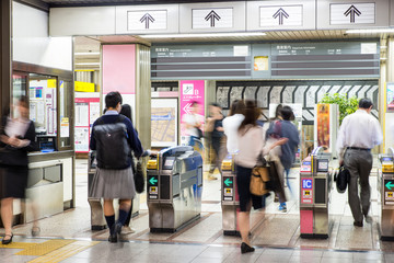 Blurred abstract background of many people on subway train, japa