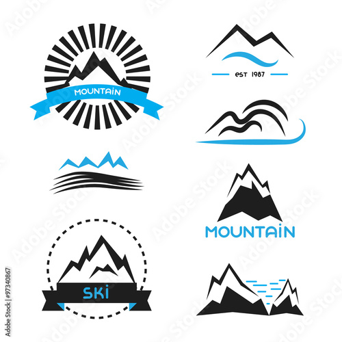 Mountain badge vector elements set  Logo concepts, brand