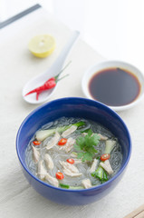 Soya noodle soup with chicken and asian spices