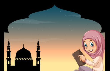 Muslim girl with mosque background