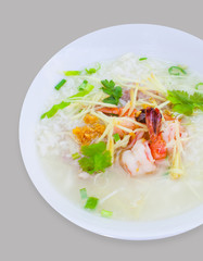 Rice congee mixed with shrimp and vegetable