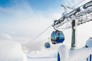 Cable car on the ski resort. Wall mural
