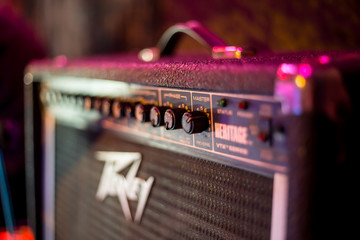 Close up of electric guitar amplifier