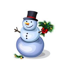 cheerful snowman. pleasant winter decoration
