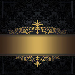 Wall Mural - Black vintage background with gold border and corners.