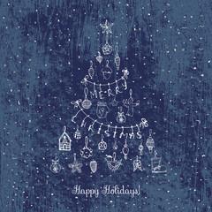 Hand drawn sketchy christmas elements Doodle vector illustration  Santa Claus, Snowmen, snowflakes, Christmas tree ice skating, deer, angel, Holly Jolly, decoration, Merry Christmas