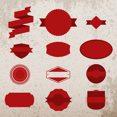 Red Christmas Labels Set on grunge Background