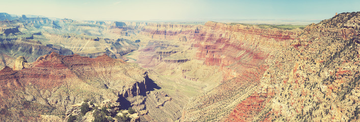 Vintage retro toned panoramic view of Grand Canyon, USA