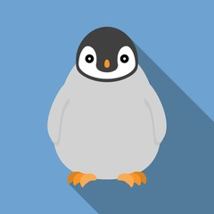 Vector baby penguin with long shadow,flat design