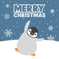 Vector merry christmas background: baby penguin playing in snow ground,flat design