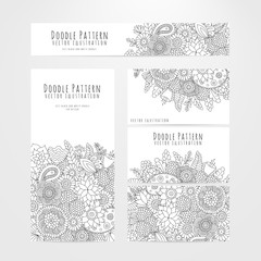 Set flyers, cards with floral doodle pattern