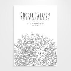 Poster with floral doodle pattern