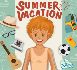 Boy and summer vacation theme