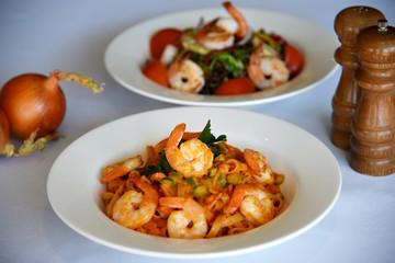 Shrimp pasta & Shrimp salad