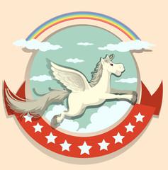 Logo design with Pegasus flying