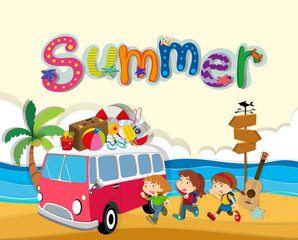 Summer theme with children on the beach
