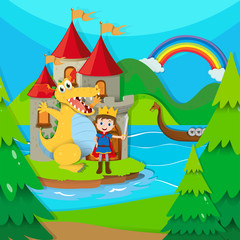 Prince and dragon in the fairy land