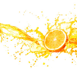 Orange juice splashing with its fruits isolated on white