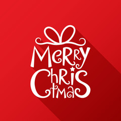 MERRY CHRISTMAS Card in festive handdrawn font with ribbon