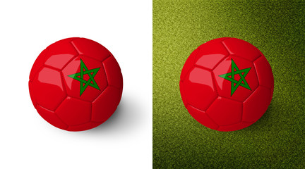 3d realistic soccer ball with the flag of Morocco on it isolated on white background and on green soccer field. See whole set for other countries.