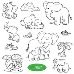Set of cute animals and objects, vector family of elephants