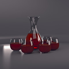 The carafe of red wine and two glasses.