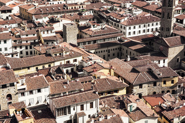 Florence cityscape, roofs scene, Tuscany, Italy