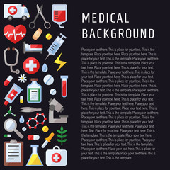 Medical and science vector background with place for your text. Template. Modern flat design.