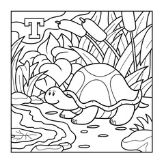 Coloring book (turtle), colorless alphabet for children: letter