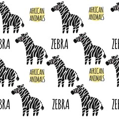 Zebra on a white background isolated. African animals seamless p