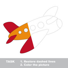 Airplane to be colored. Vector trace game.