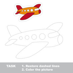 Airplane to be traced. Vector trace game.
